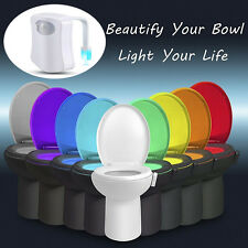 LED Toilet Bathroom Night Light Human Motion Activated Seat Sensor Lamp seats