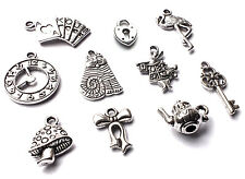 10 x Mixed Alice in Wonderland Silver Charm Pendants Teapot Key Cat Clock Rabbit