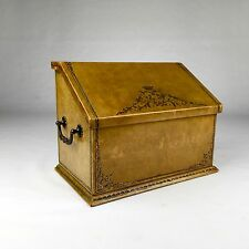 Beautiful Vintage Italian Gilt Gold Embossed Leather Wood Stationary Box