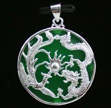 Jewellery Chinese Silver Green Jade Dragon Phoenix Bird Necklace And Pendant