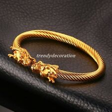 Silver Gold Cool Men's Dragon End Cuff Bangle Stainless Steel Bracelet Jewelry