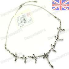 MARCASITE CRYSTAL NECKLACE choker ANTIQUE STYLE vintage silver plt FLOWER/VINE