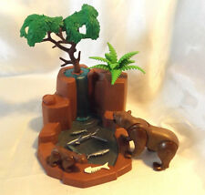 Playmobil Grizzly Bear & Cub w/ Waterfall Landscape for Zoo, Safari, Ark Animals