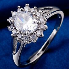 High Quality Ladies Ring White Gold Filled Oval Cubic Zircon For Wedding