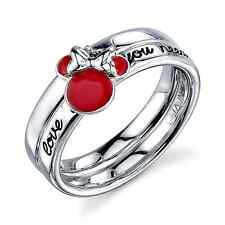 DISNEY MINNIE MOUSE STERLING SILVER 'LOVE IS ALL YOU NEED' RED ENAMEL  RING 9