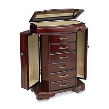 Jaclyn Smith Women's Wooden Dark Walnut Top Lid w/ Mirror Jewelry Box Armoire