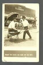 Soper OKLAHOMA RP 1919 WINING BET Pushing Man WHEELBARROW Black Indian nr Hugo