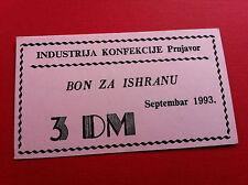 3 Deutsch Mark DM 1993 STAMP -LOCAL NOTE BOSNIA - Garment Industry Prnjavor !