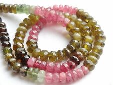 "HAND FACETED TOURMALINE RONDELLES, approx 6mm, 14.5"", 110 beads"