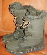 **NICE** BORN SHEARLING LEATHER WINTER LACE UP BOOTS, SIZE 8, OLIVE GREEN, WARM!