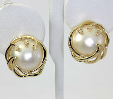 Diamond Mobe pearl earrings 14K yellow gold wave 14 MM 8 rounds .10CT spray chic