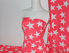 White/Coral Star Print Lycra/Spandex 4 way stretch Matt Finish Fabric