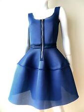 MAJE, BLUE NEOPRENE FIT AND FLARE COCKTAIL DRESS FRONT ZIPPER, SMALL/MEDIUM, 2