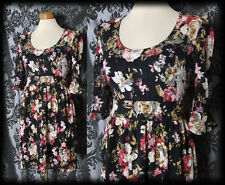 Gothic Black Lace Floral LOST LOVE Layer Tea Dress 8 10 Skater Victorian Vintage