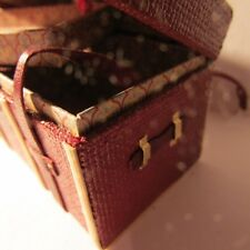 Luggage Shipping Trunk/Suitcase ~ RED ~ with tray ~ Doll House Miniature ~ 1:12
