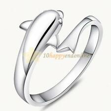 Fashion Luxury 925 Sterling Double Dolphin Opening Adjustable Rings Engagement