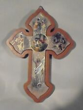 Wall Plaque Wood Cross w/Assorted Printed Pictures of the Life Of Jesus