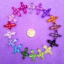 15 x Plastic cross Charms, Key Rings, Jewellery, Crafts, Favours