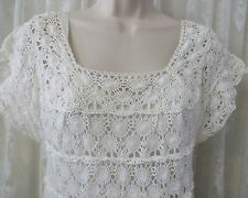 VINTAGE WHITE CROCHET Dress A Line Wedding Easter SLIP Medium Top Boho Country