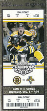 2011 BOSTON BRUINS VS PANTHERS FULL TICKET STUB 12/8/11 BRAD MARCHAND FERENCE