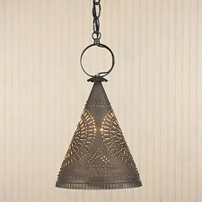 Madison Witch's Hat Light in Blackened Tin | Primitive Colonial Ceiling Lights