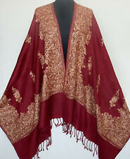 Kashmiri Embroidered, Shawl. Burgundy Wool & Beige Crewel Embroidery. India Wrap