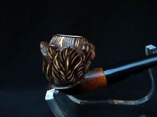 Beautiful Brown Floral Block Meerschaum Pipe in USA location Tulip Flower 1552