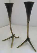 VINTAGE ART DECO RICHARD ROHAC AUSTRIA BRASS CANDLESTICKS CANDLE HOLDERS
