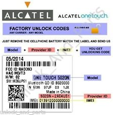 Unlock Code Alcatel OT-4009A OT-6012A Movistar Mexico And More