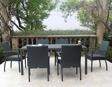 Graphite Outdoor Patio Furniture Resin Wicker Stacking Dining Arm Chair 7PC Set