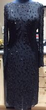 ARMANI COLLEZIONI Black Beaded Sequin Silk Long Sleeve Mid Length Dress Sz US 10