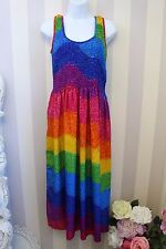 90s Vtg Hippie Bright Rainbow Multicoloured Magic Festival Sun Dress 10 12 14 OS