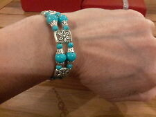 Brand new ornate Tibetan  silver  bangle  with turquoise  beads and gift box