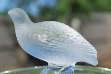 Lalique France Crystal Ring Holder Pin Tray with a Bird Quail on Top signed