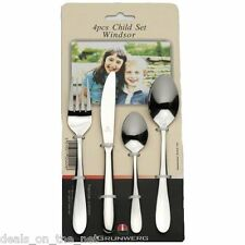 Grunwerg Windsor Stainless Steel 4 Piece Children Child Cutlery Set