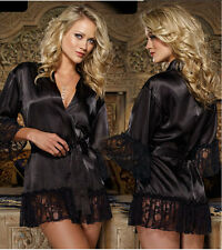 Bathrobe sexy black lace lingerie lace nightgown women dress wy162