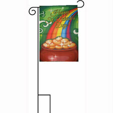 """12x18 12""""x18"""" Happy St. Patrick's Day Pot of Gold Sleeved w/ Garden Stand Flag"""