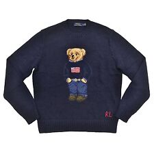 Polo Ralph Lauren Bear Sweater USA Flag Cable Knit Teddy Bear MENS L LARGE BLUE