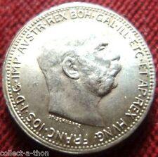 LUSTROUS UNCIRC 1915 WW1 AUSTRO-HUNGARIAN EMPIRE SILVER KORONA EMPEROR Ebay $75!