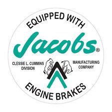 JACOBS ENGINE BRAKES CLESSIE L. CUMMINS  ROUND  STICKER  JACOBS BRAKES STICKER