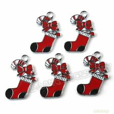 20pcs Red&white Enamel Christmas Sock Dangle Alloy Pendants Jewelry Charms BS