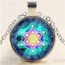 Metatron's Cube Art Photo Cabochon Glass Tibet Silver Chain Pendant Necklace SC1