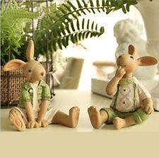 Easter Bunny Green Rabbit Resin Figure figurine Shelf Sitter Home Decor Gift