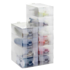 20 x VonHaus Clear Stackable Plastic Ladies Shoe Storage Foldable Boxes