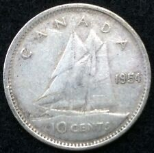 Canada 1954 10 Cents Coin Silver Canadian Dime .10C #1315