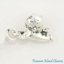 CRAWLING KEWPIE-LIKE BABY DOLL 3D .925 Solid Sterling Silver Charm