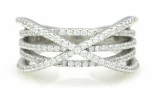 SIZE 8 SOLID STERLING SILVER CUBIC ZIRCONIA DESIGNER RING BAND FOR LADIES/WOMEN!
