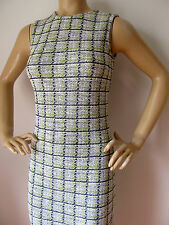 NEW ST JOHN KNIT SIZE 2 WOMENS DRESS BLACK WHITE LIME GREEN TWEED WOOL RAYON