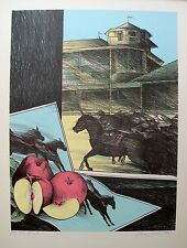 "SUSAN HALL ""THE HUNT"" Hand Signed Limited Edition Lithograph Horses Horse Racing"