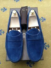 Scarpe Gucci Uomo Blu Pelle Scamosciata Mocassini Drivers UK 9.5 US 10.5 43.5 MADE IN ITALY